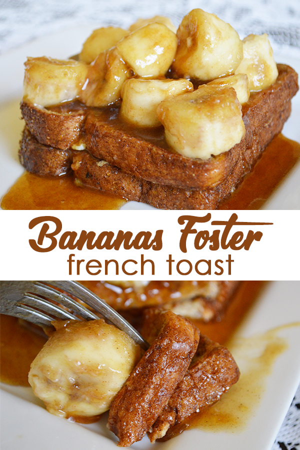 This easy bananas foster french toast recipe can be made in minutes. It can be served at breakfast or at your next hosted brunch. - The Kreative Life