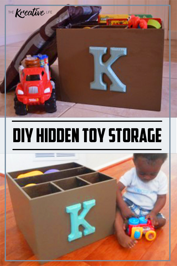 This diy hidden toy storage is a perfect way to keep your kids' toys nice and tidy around your home.