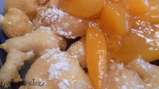 Carnival Fritters with Peach Topping - The Kreative Life