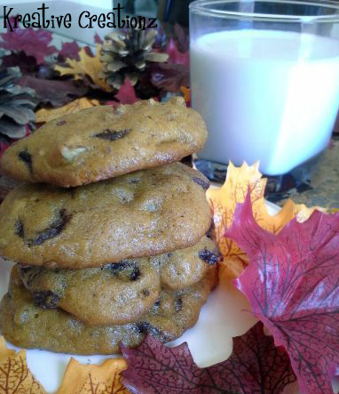 Pumpkin Pecan Chocolate Chip Cookies - The Kreative Life