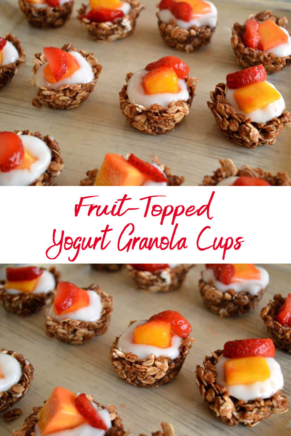 These fruit topped granola cups with yogurt are perfect for a quick snack or to serve at your next brunch. - The Kreative Life