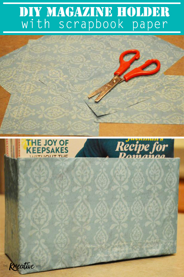This diy magazine holder with scrapbook paper will look perfect with your decor. - The Kreative Life