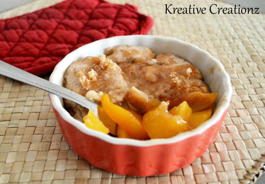 Easy 3 Minute Microwave Peach Cobbler The Kreative Life