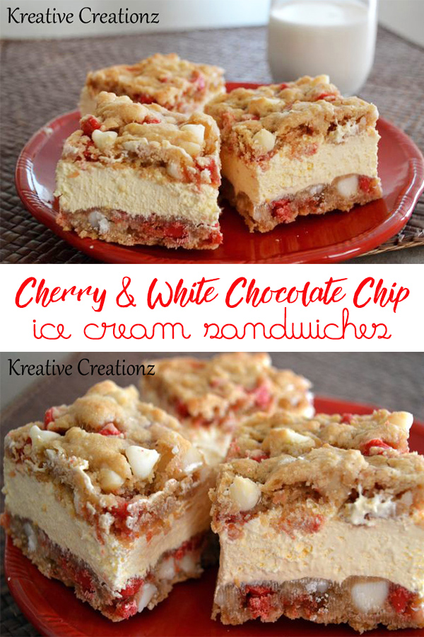 This white chocolate chip cookie ice cream sandwich is different than the rest. Cherry and white chocolate morsels make this ice cream sandwich cookie flavorful. You know have two desserts in one! - The Kreative Life