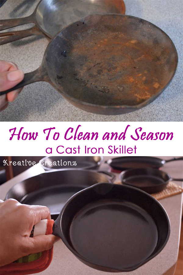 I've been putting off cleaning cast iron skillets. I have so many and I really need to take care of my cast iron skillets, so I'm finally getting around to it. After I you see how to clean cast iron skillets you'll learn how to season cast iron skillets to get from old and rusty to the squeaky clean. - The Kreative Life