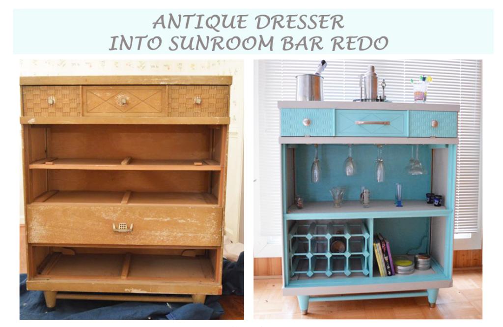 Antique Dresser Into Sunroom Bar Redo