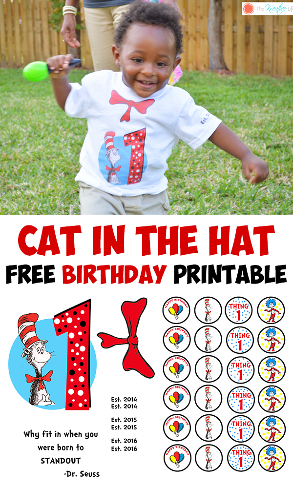 FREE Cat in the Hat Birthday Printable - The Kreative Life