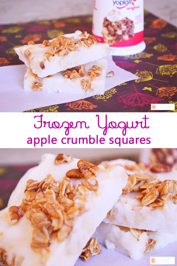 A frozen yogurt dessert recipe that is tasty and easy to make. Frozen yogurt apple crumble squares are a simple snack that your family will enjoy. - The Kreative Life