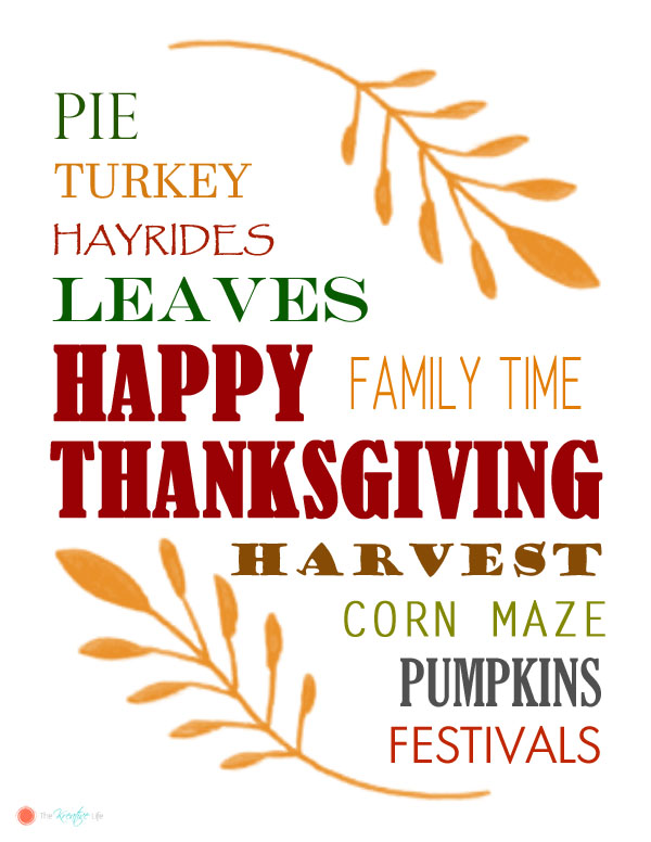 Free Thanksgiving Printable - The Kreative Life