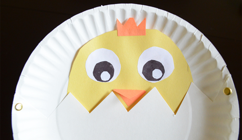 Peek-a-Boo Chick Paper Plate Spring Craft for Kids