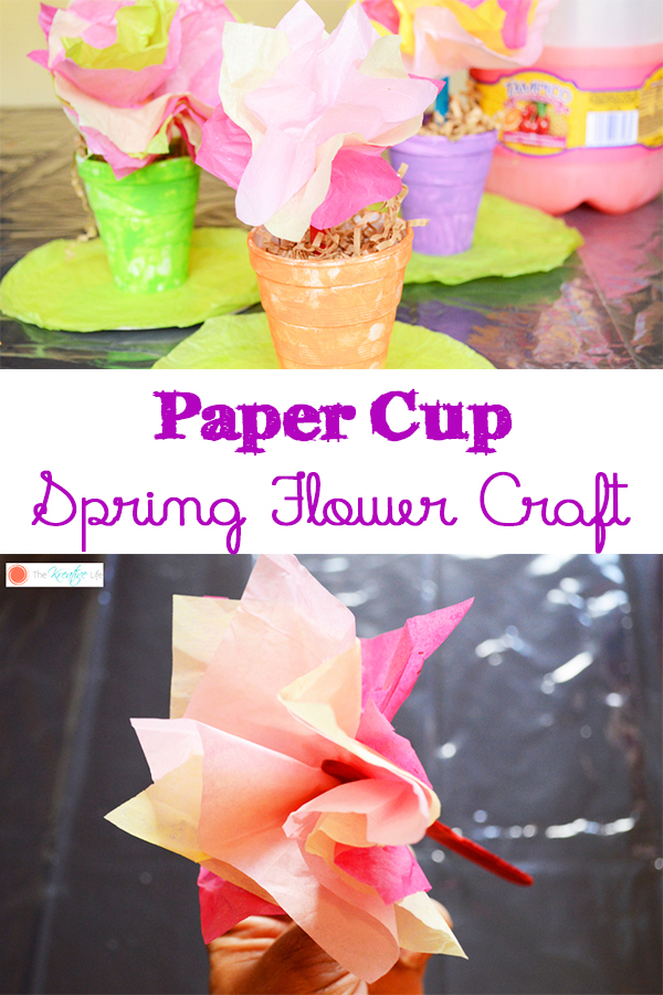 Your kids will enjoy this paper cup spring flower craft! Toddlers and preschoolers will show their green thumb with this easy spring crafts. - The Kreative Life