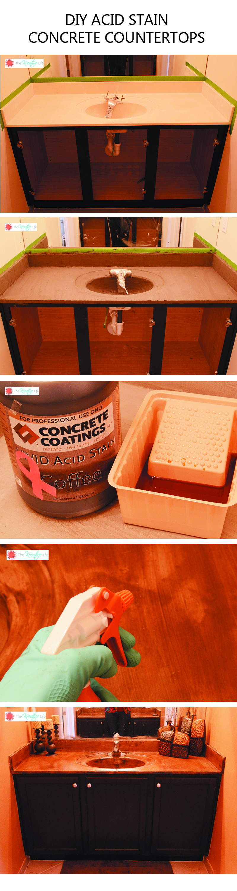 This tutorial will teach you how to stain concrete countertops using acid stain. You can also use this method to prepare, stain, and seal and concrete coating. - The Kreative Life