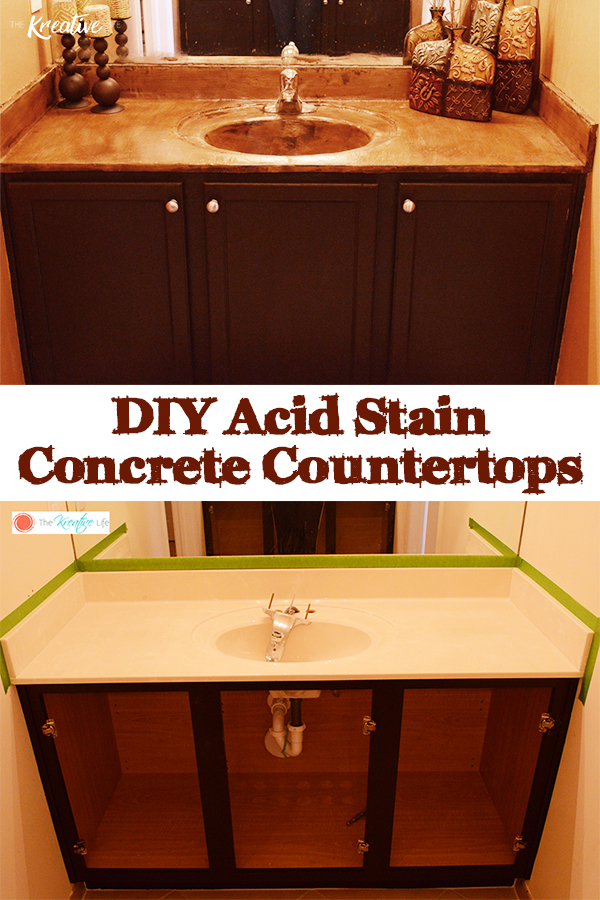 This diy acid stain concrete countertop tutorial is a step-by-step guide that will help your sinks go from blah to awesome! - The Kreative Life *For more DIY inspiration, visit www.thekreativelife.com*