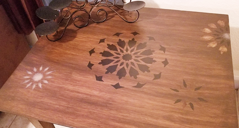 Stenciling and Staining Wood Tables