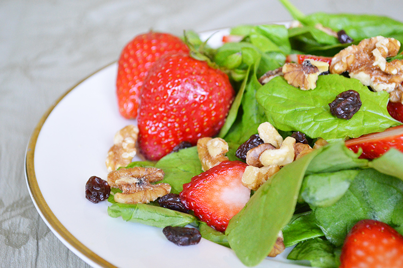 Strawberry Spinach Salad with a Fresh Strawberry Vinaigrette