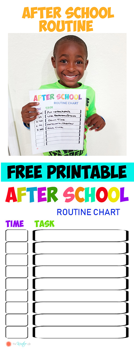 graphic regarding After School Schedule Printable named Immediately after Faculty Agenda and No cost Chart Printables - The