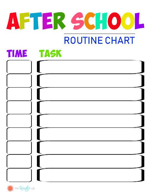 FREE Customizable After School Routine Chart