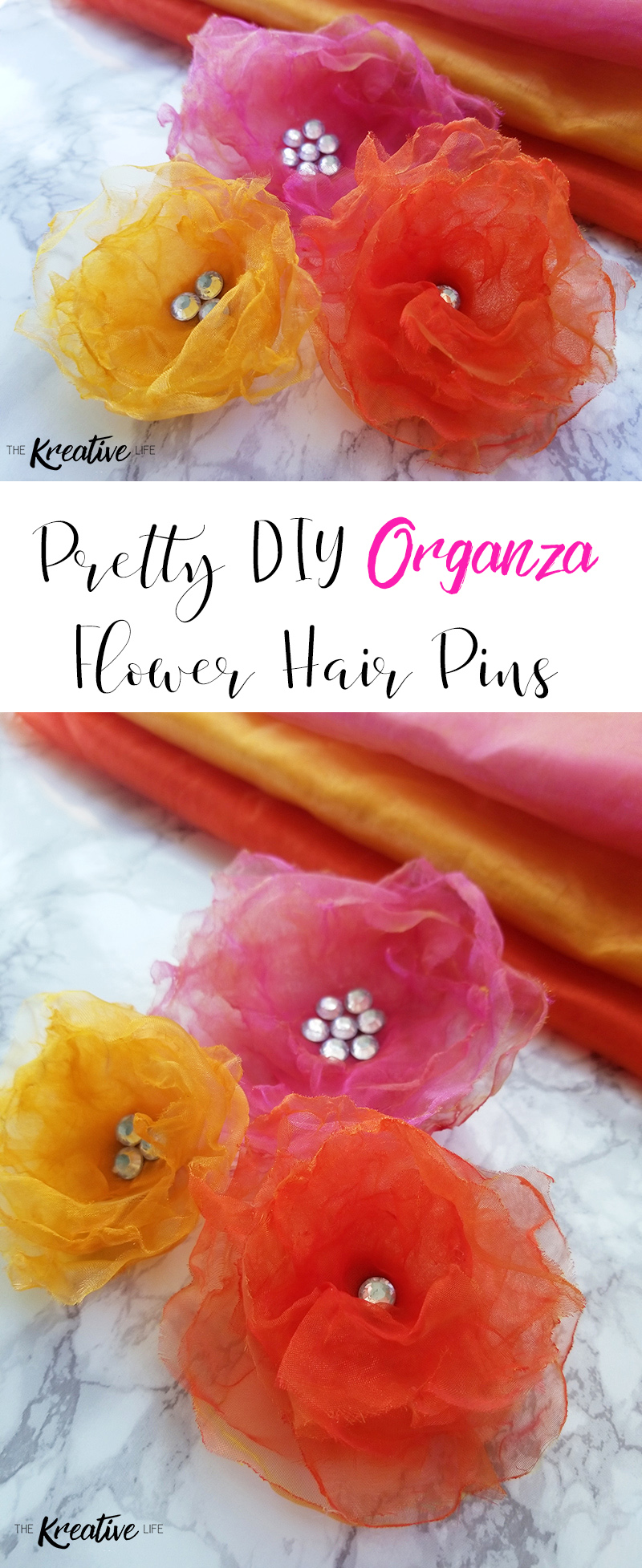 If you ever wanted to know how to make organza flower hair pins for weddings or bouquets this DIY Organza Flower Hair Pin tutorial is perfect! - The Kreative Life