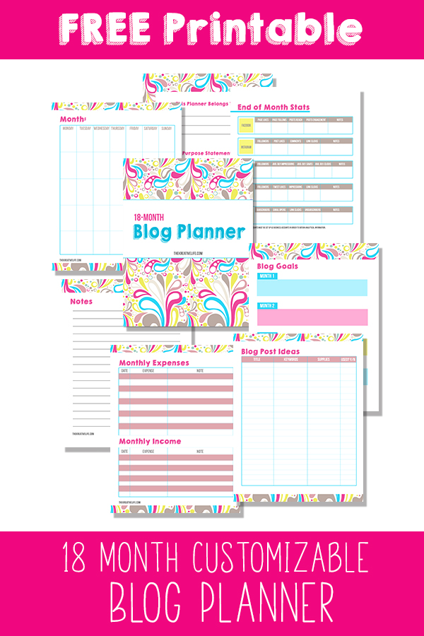 Free 18 Month Customizable Blog Planner Printable with tracking sheets. This free downloadable blog planner will help you get started blogging. - The Kreative Life