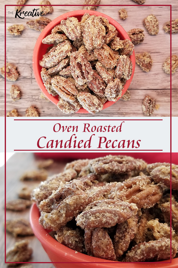 Oven roasted candied pecans are a great snack or you can even add them to salads and other dishes.