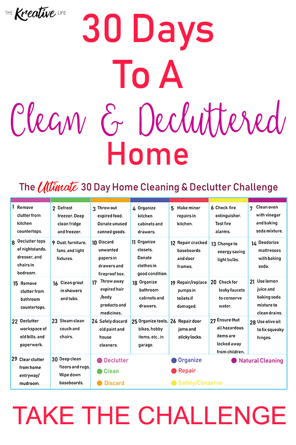 Take this 30-day cleaning and decluttering home challenge to get your home organized. - The Kreative Life